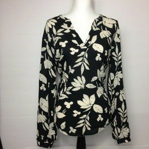 A New Day Black & White Floral Blouse